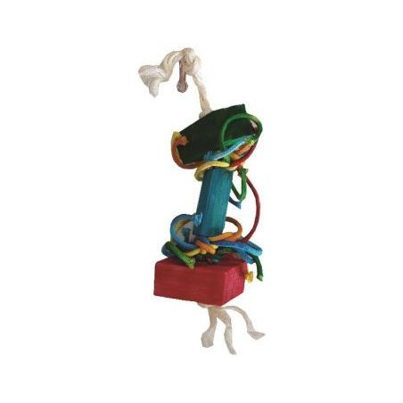 Bt011 bois+corde pr perruche 20cm