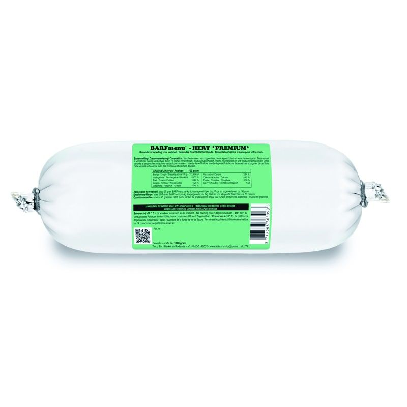 Barfmenu Cerf Premium  1 X 1000g à 6,16€ sur Barf-Food-France