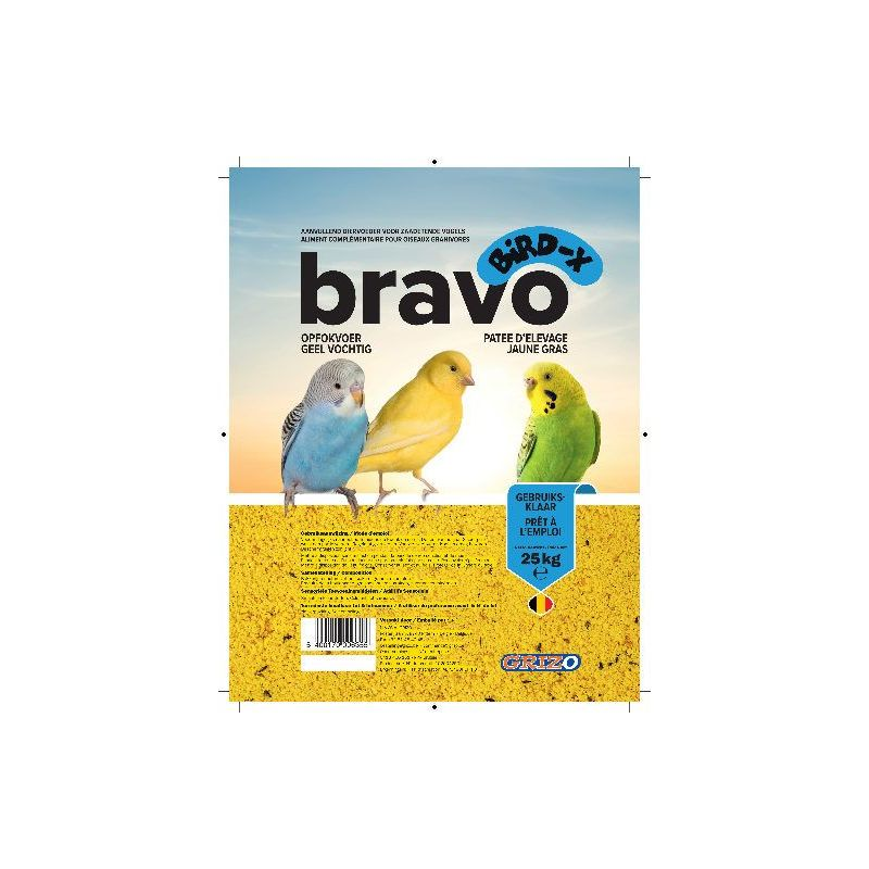 PATEE D'ELEVAGE BIRD-X BRAVO JAUNE SUPER GRAS sac 0,9 kg à 3,66 € sur Barf-Food-France