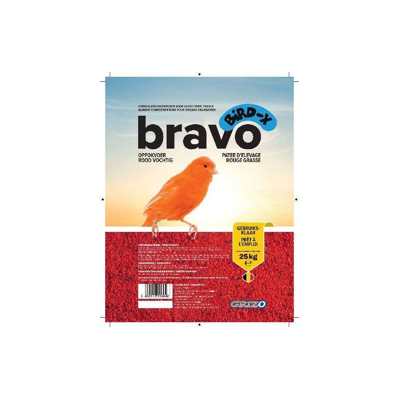 PATEE D'ELEVAGE BIRD-X BRAVO ROUGE SUPERGRASSE sac 4,5 kg à 18,74 € sur Barf-Food-France