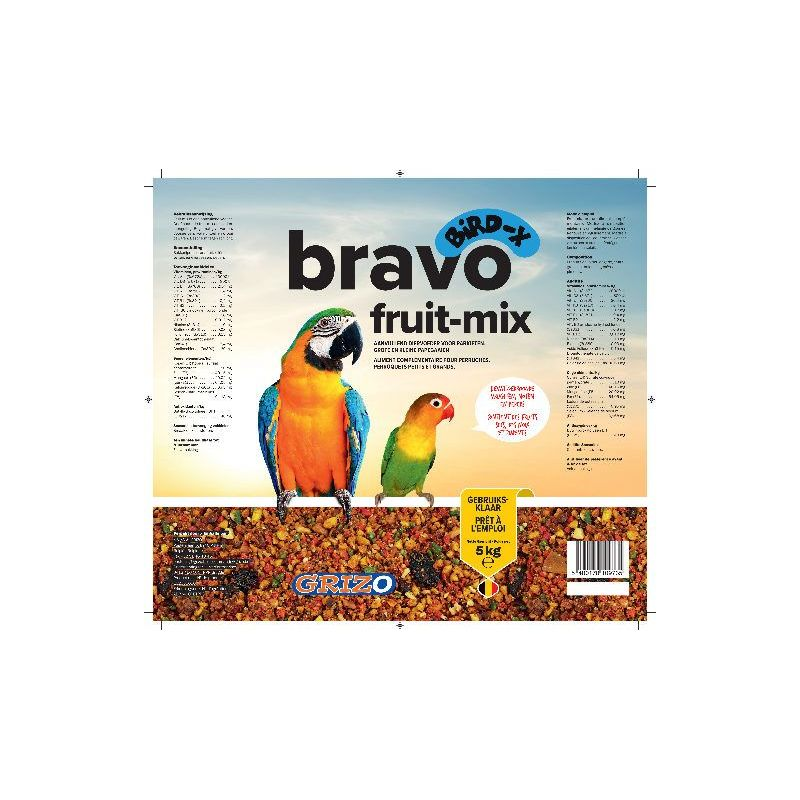 BRAVO FRUIT-MIX POUR PERRUCHES ET PERROQUETS seau 5 kg à 25,83 € sur Barf-Food-France