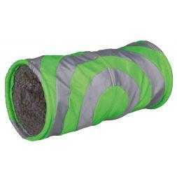 Tunnel douillet pour petits animaux:ø 15 × 35 cm, gris/vert